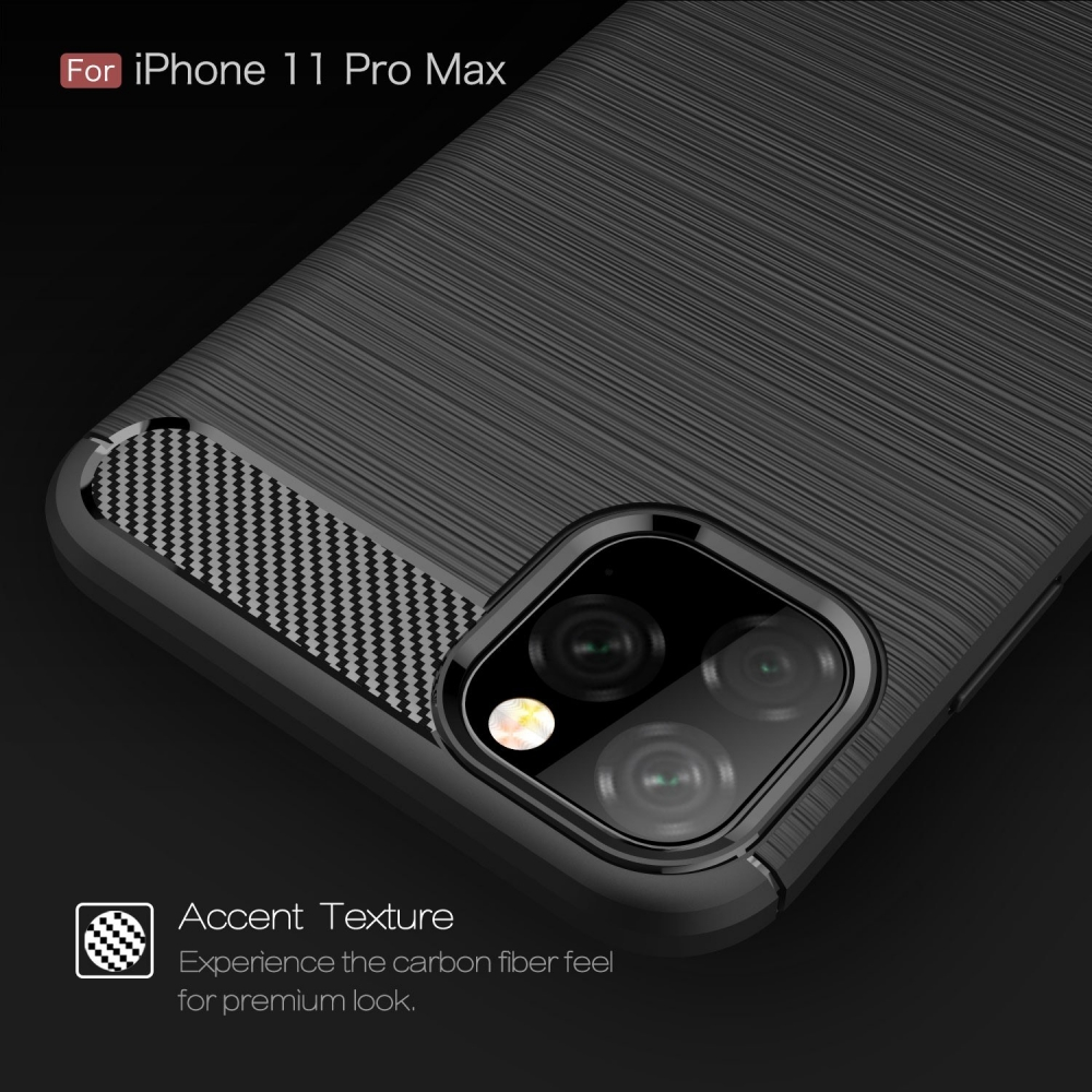 TPU Carbon Fiber Phone Protective Case Non-slip Anti Fingerprints Anti Scratch Phone Case Protection Shell Compatible with iPhone 11 Pro Max - Generic  - IPhone Cases - BBCPAP0522R - bargainbasement.club